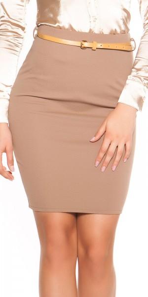 Sexy Taillen-Minirock mit Zip und Gürtel