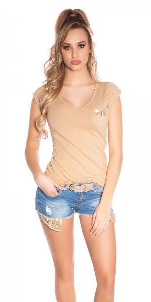 Trendy KouCla Shirt mit Brusttasche und Nieten