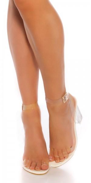 Sexy High Heel Transparente Sandalette/Blockabsatz