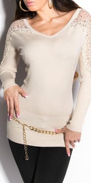 Sexy KouCla V-Ausschnitt Pullover mit Strass
