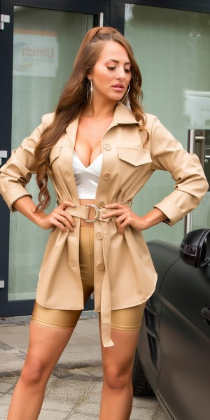 Sexy Fashionista Lederlook Jacke mit Gürtel