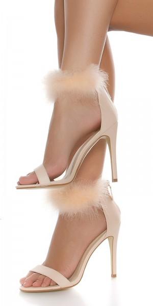 Sexy High Heel Sandalette mit Plüsch