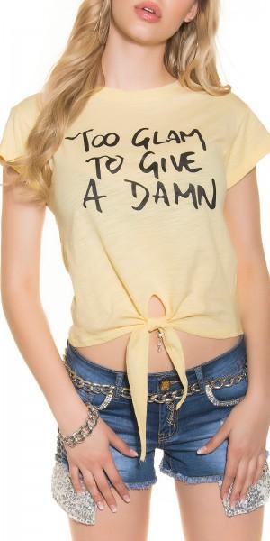 "Trendy T-Shirt zum binden""Too glam to give a damn"""