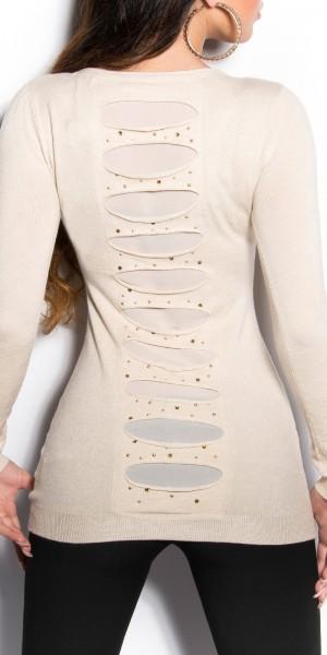 Sexy KouCla Longpulli mit Cut-Outs am Rücken