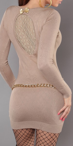 Sexy KouCla Strick-Minikleid m. Spitze u. Schleife