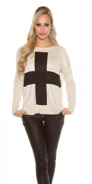 Trendy KouCla Oversize Pulli mit Kreuz
