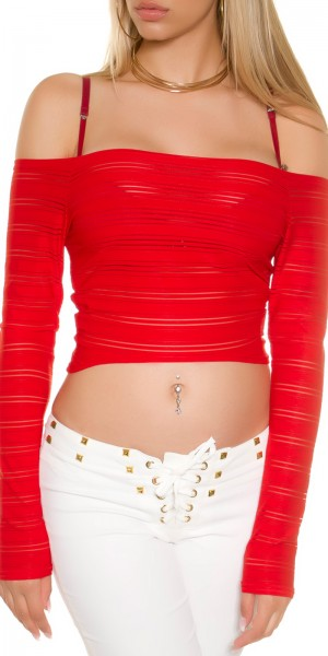 Sexy KouCla Crop Langarm Shirt Carmenausschnitt