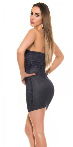 Sexy Bandeau Minikleid im Jeans-Look