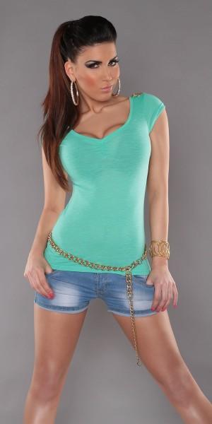 Trendy KouCla T-Shirt mit kleinen Schulterketten