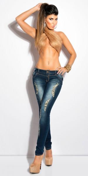 Sexy KouCla Skinnies mit Strass und Schleifchen