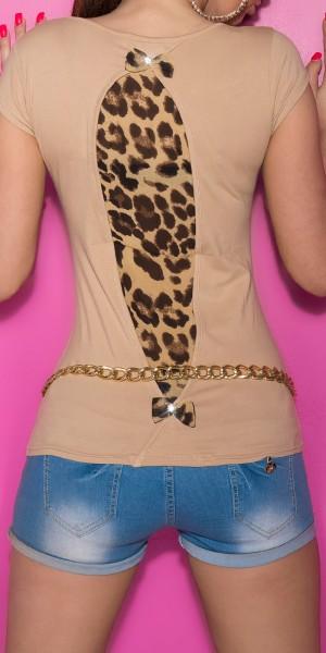 Sexy KouCla Shirt mit Leo-Print und bow