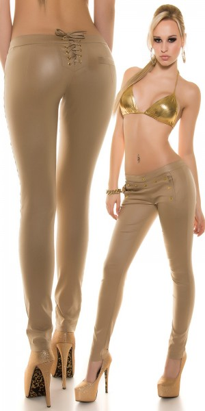 Sexy KouCla Wetlook Hose + Nieten & Schnürung