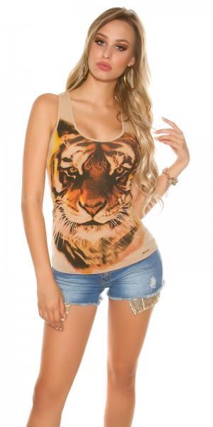 Sexy KouCla Tanktop mit Tiger-Print und Zip