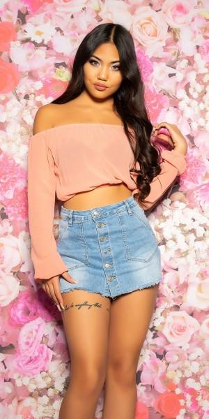 Sexy KouCla Chiffon Latina-Crop Top Bauchfrei