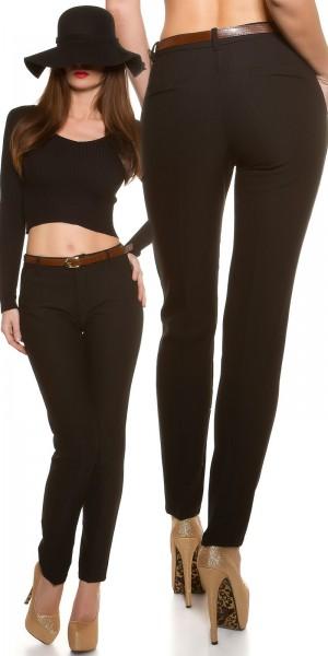Trendy Stoffhose mit Bügelfalte & Gürtel