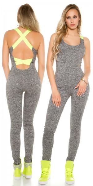 Trendy Workout-Overall mit sexy Rückenausschnitt