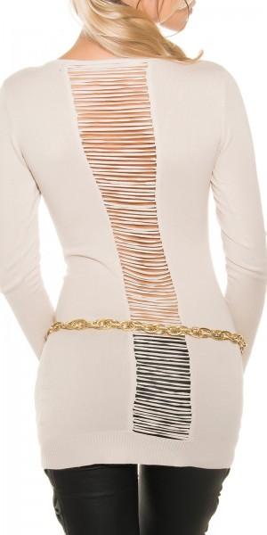 Sexy Feinstrick Longpulli mit Rücken-Ausschnitt